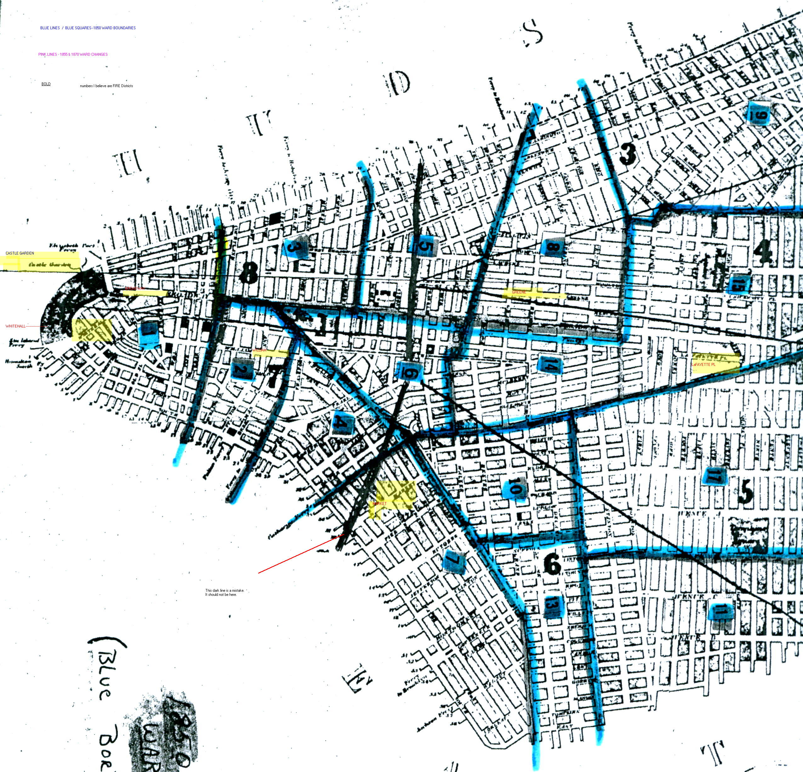 Map Of New York 1850.Manhattan Ward Changes Map